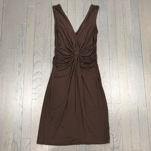 London Style Dresses & Skirts - London Style Brown Ruched V Neck Stretchy Dress